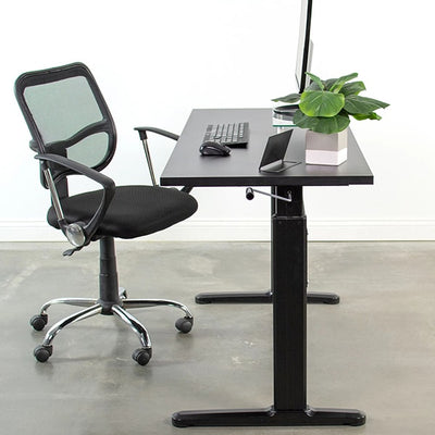 VIVO Black 55 Crank Height Adjustable Desk Side View