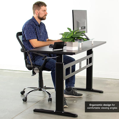 VIVO Black 55 Crank Height Adjustable Desk Side View Sitting