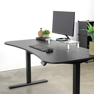 VIVO Black 63 Electric Height Adjustable Desk 3D View Loaded