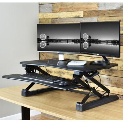 VIVO DESK-V000DB Deluxe Standing Desk Converter 3D View Black Facing Left