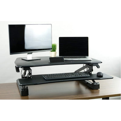 VIVO DESK-V000DB Deluxe Standing Desk Converter Front View Single Screen And Laptop