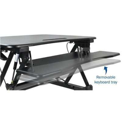 VIVO DESK-V000DB Deluxe Standing Desk Converter Removable Keyboard Tray Close Up