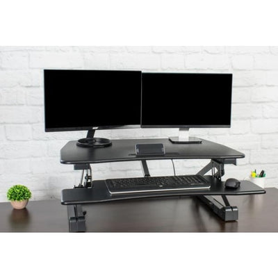 VIVO DESK-V000EB Electric Standing Desk Converter 3D View  Top Front View