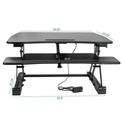 VIVO DESK-V000EB Electric Standing Desk Converter Front View Dimensions