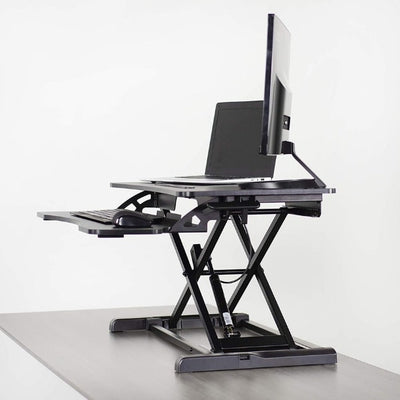 VIVO DESK-V000K Standing Desk Converter 3D View Facing Left