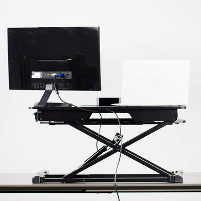 VIVO DESK-V000K Standing Desk Converter back View Monitor And Laptop