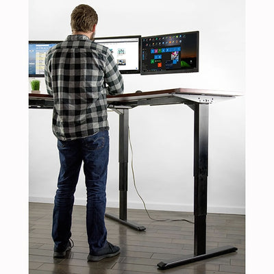 VIVO Multi Motor Electric Corner Desk Base Front View Standing