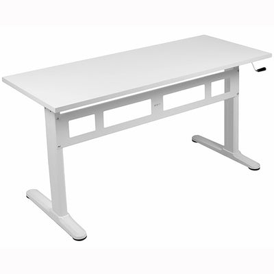 VIVO White 55 Crank Height Adjustable Desk 3D View