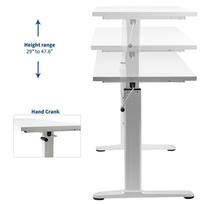 VIVO White 55 Crank Height Adjustable Desk Height Setting
