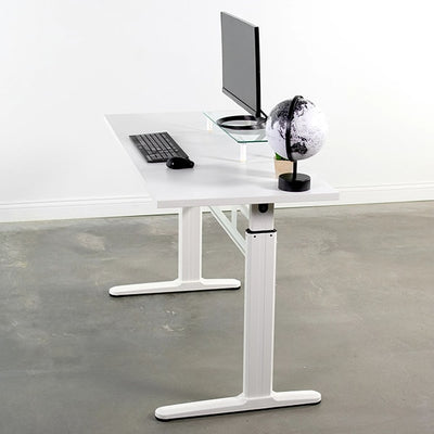 VIVO White 55 Crank Height Adjustable Desk Side View