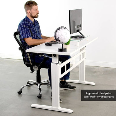 VIVO White 55 Crank Height Adjustable Desk Side View Sitting