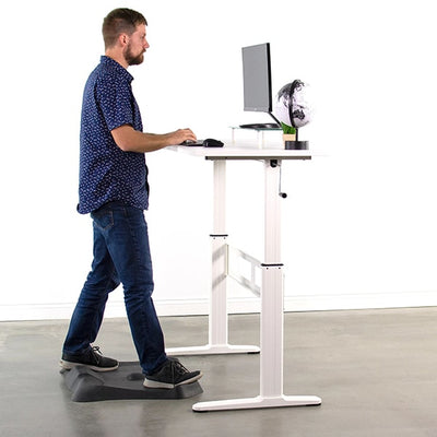 VIVO White 55 Crank Height Adjustable Desk Side View Standing