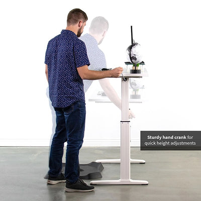 VIVO White 55 Crank Height Adjustable Desk Side View Turning