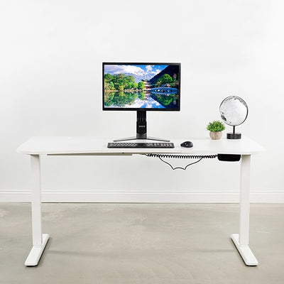 VIVO White 63 Electric Height Adjustable Desk Front View
