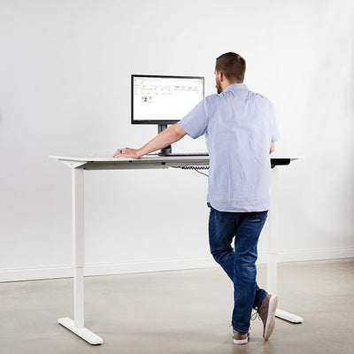 VIVO White 63 Electric Height Adjustable Desk Front View Standing