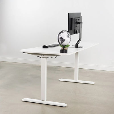 VIVO White 63 Electric Height Adjustable Desk Side View