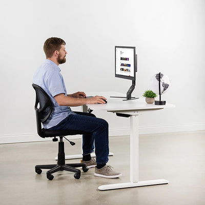 VIVO White 63 Electric Height Adjustable Desk Side View Sitting