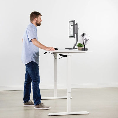 VIVO White 63 Electric Height Adjustable Desk Side View Standing