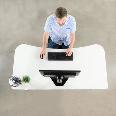 VIVO White 63 Electric Height Adjustable Desk Top View