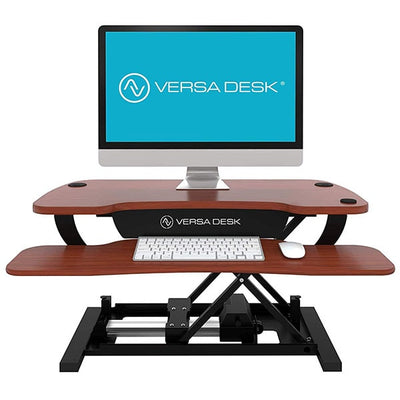 VersaDesk Power Pro 36 inch Electric Standing Desk Converter Cherry Front View