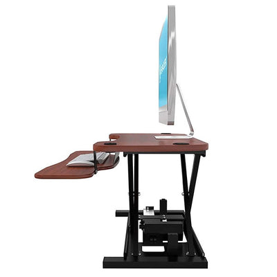 VersaDesk Power Pro 36 inch Electric Standing Desk Converter Cherry Side View Facing Left
