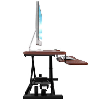 VersaDesk Power Pro 36 inch Electric Standing Desk Converter Cherry Side View Facing Right