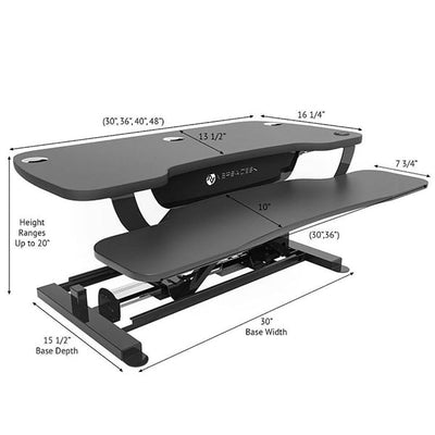 VersaDesk Power Pro 36 inch Electric Standing Desk Converter Dimensions