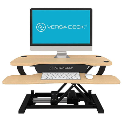 VersaDesk Power Pro 36 inch Electric Standing Desk Converter Maple Front View