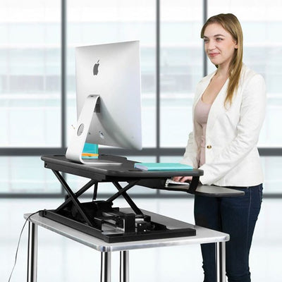 VersaDesk Power Pro 48 inch Electric Standing Desk Converter Back Side View
