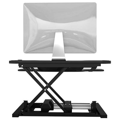 VersaDesk Power Pro 48 inch Electric Standing Desk Converter Black Back View Single Monitor