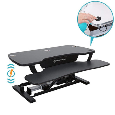 VersaDesk Power Pro 48 inch Electric Standing Desk Converter Black Push Button