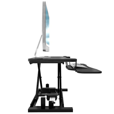 VersaDesk Power Pro 48 inch Electric Standing Desk Converter Black Side View