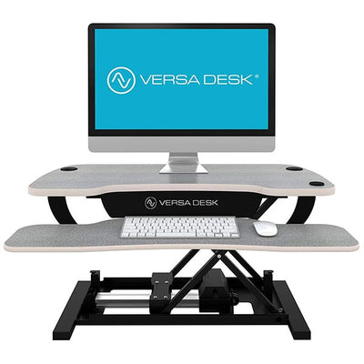VersaDesk Power Pro 48 inch Electric Standing Desk Converter Gray Front View