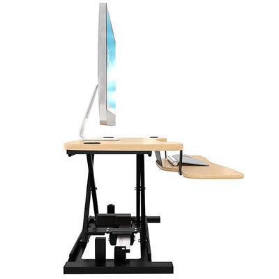 VersaDesk Power Pro 48 inch Electric Standing Desk Converter Maple Side View