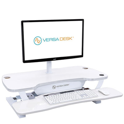 VersaDesk Power Pro 48 inch Electric Standing Desk Converter White 3D View Facing Right