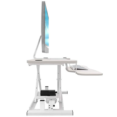 VersaDesk Power Pro 48 inch Electric Standing Desk Converter White Side View