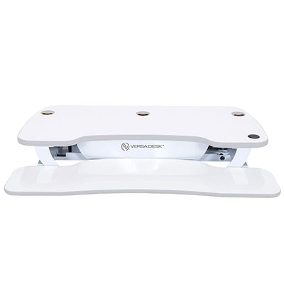 VersaDesk Power Pro 48 inch Electric Standing Desk Converter White front View Compressed