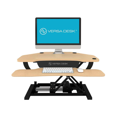 VersaDesk Power Pro Corner 36 inch Electric Maple Front View