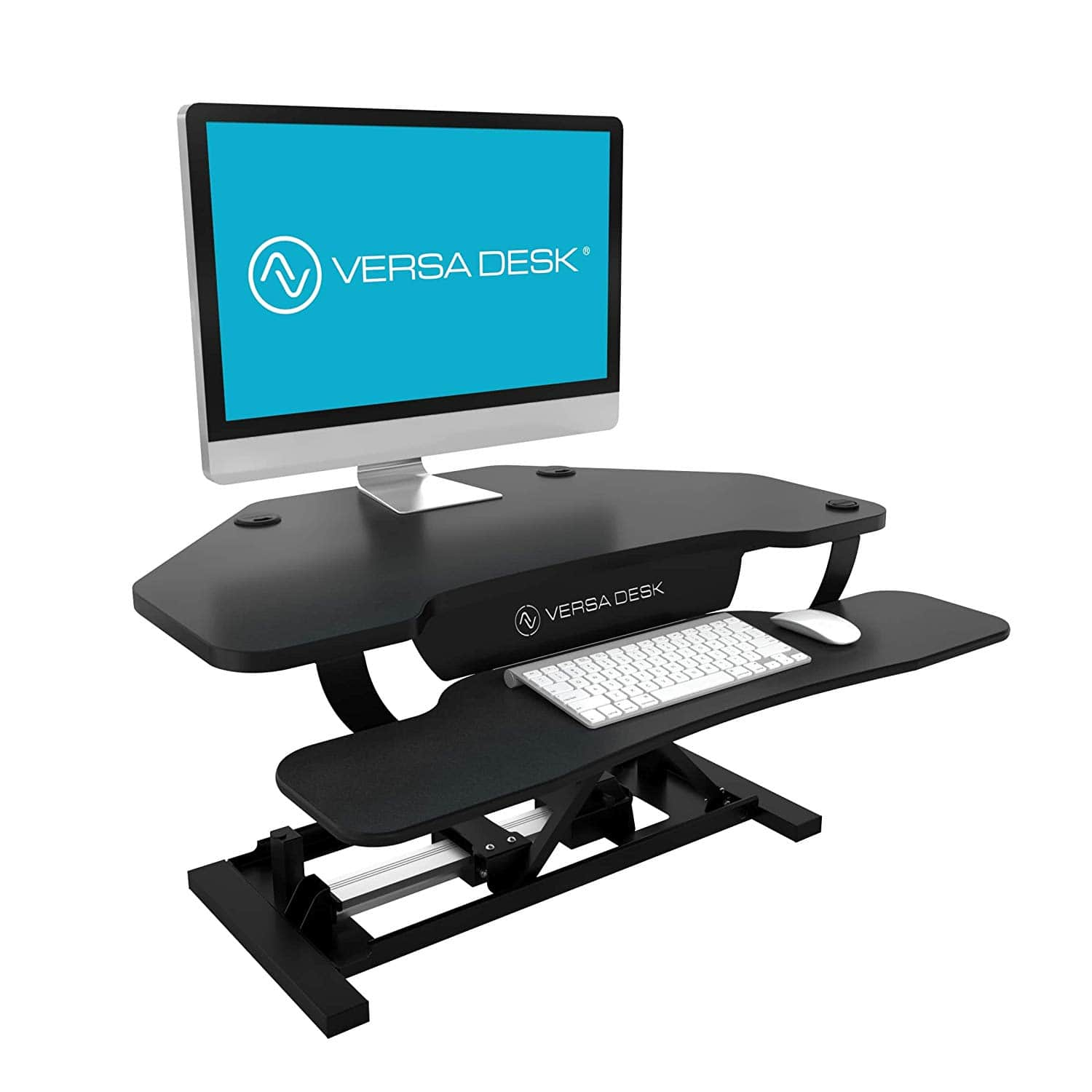 VersaDesk Power Pro Corner 36 inch Black 3D View Facing Right