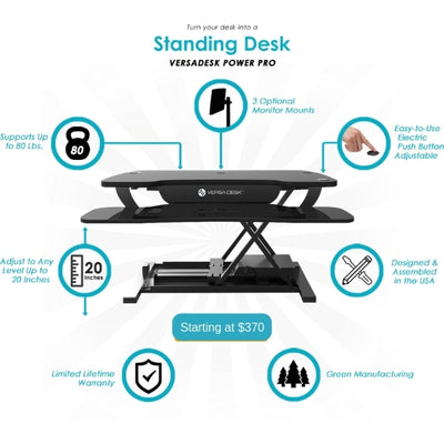 VersaDesk Power Pro 48 inch Electric Standing Desk Converter Functions