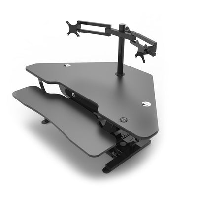 VersaDesk Universal Dual LCD Spider Monitor Arm Black On Corner Desk