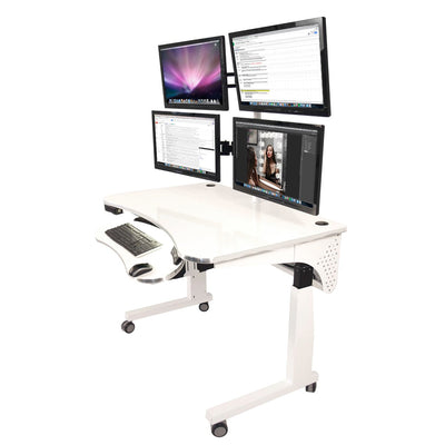 VersaDesk Universal Dual LCD Spider Monitor Arm White Four Monitors