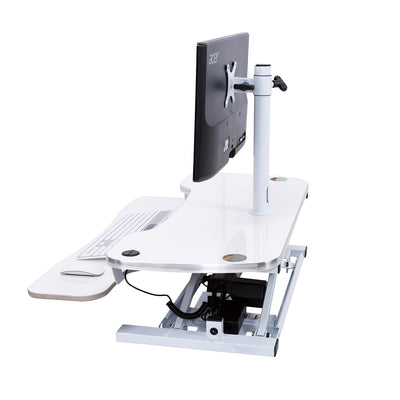 VersaDesk Universal Single LCD Monitor Arm White On Desk Side View
