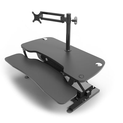 VersaDesk Universal Single LCD Spider Monitor Arm Black On Corner Desk