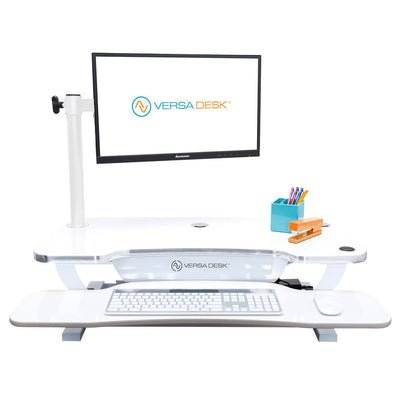 VersaDesk Universal Single LCD Spider Monitor Arm White Front View On Desk