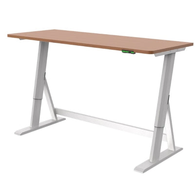 Vivistand Duo Standing Desk Clear Walnut White Base