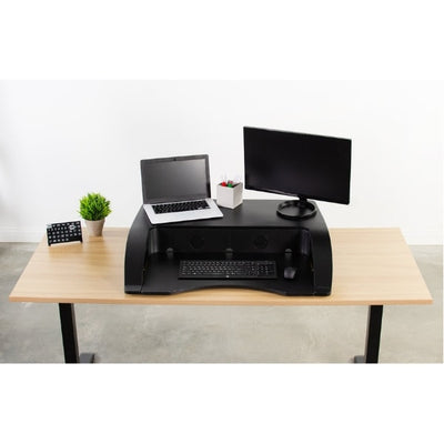 Vivo Desk-V000R 36_ Black Standing Desk Riser Front View Compressed