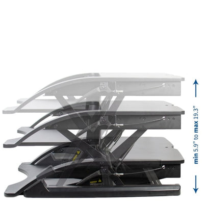 Vivo Desk-V000R 36_ Black Standing Desk Riser Height Setting
