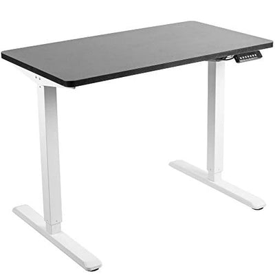 Black Table Top DESK-KIT-E5B4B Black Frame VIVO Electric 43 x 24 inch Stand Up Desk Height Adjustable Standing Workstation with Push Button Controller