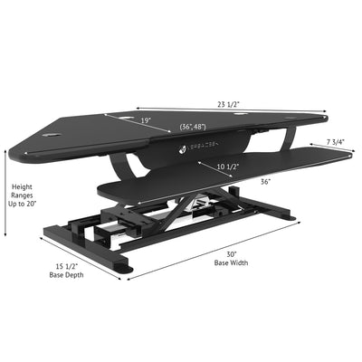"VersaDesk - 48"" Power Pro Corner Electric Standing Desk Converter - DISCONTINUED - Standing Desk Nation"